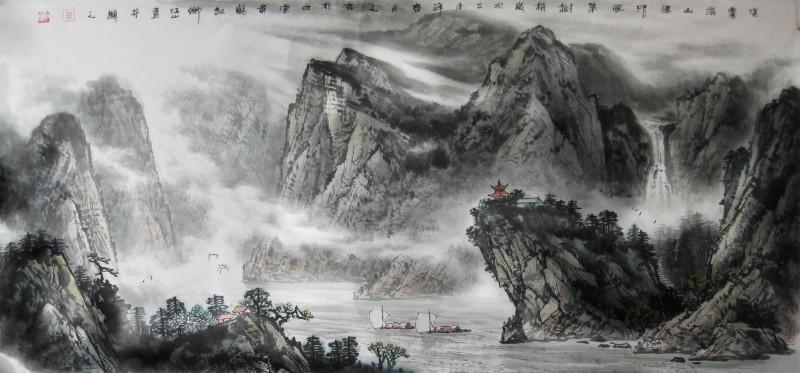 淡雾滃山腰  清风集树梢