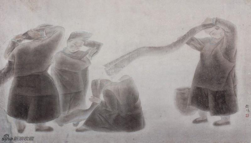 《风》53×87cm纸本工笔,1987年