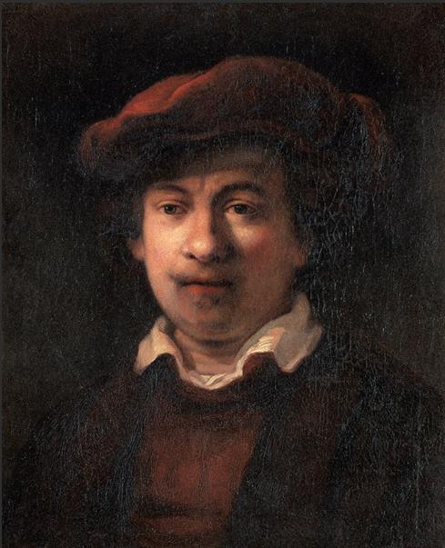 自画像 17世纪 伦勃朗·范·莱因(1606—1669)画派 布面油画 55厘米×46厘米 都灵萨包达美术馆