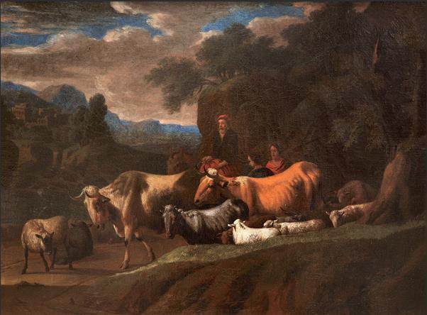 牧牛 17世纪 (传)尼古拉斯·贝尔赫姆(1620—1683) 布面油画 53厘米×70厘米 都灵萨包达美术馆