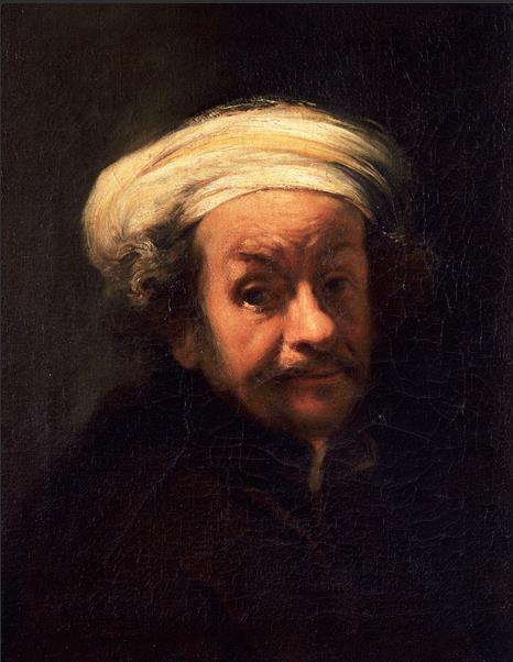 自画像 17世纪 伦勃朗·范·莱因(1606—1669)画派 布面油画 61厘米×47厘米 都灵萨包达美术馆