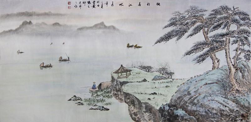 张天祥,国画,6、独钓,1.35米68公分,2万人民币