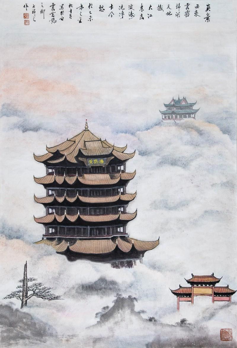 张天祥,国画,黄鹤楼,1米_68公分,2万人民币a