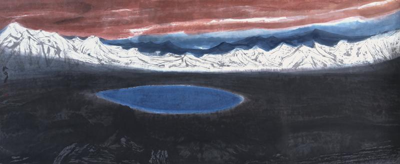 丝路风景线  纸本水墨   142cmx360cm   2015年